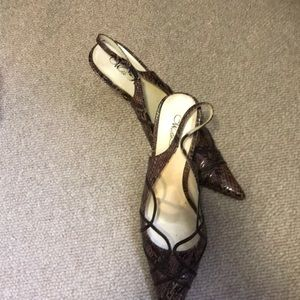 Faux snakeskin heels